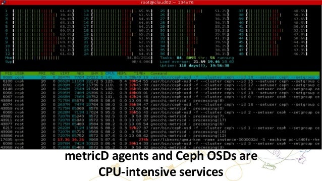 metricD agents and Ceph OSDs are CPU-intensive services