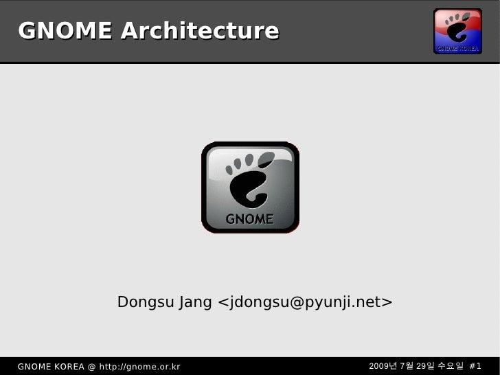 GNOME Architecture <ul><ul><li>Dongsu Jang <jdongsu@pyunji.net> </li></ul></ul>
