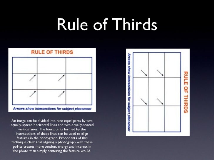 Rule of Thirds An image can be divided into nine equal parts by two equally-spaced horizontal lines and two equally-spaced...
