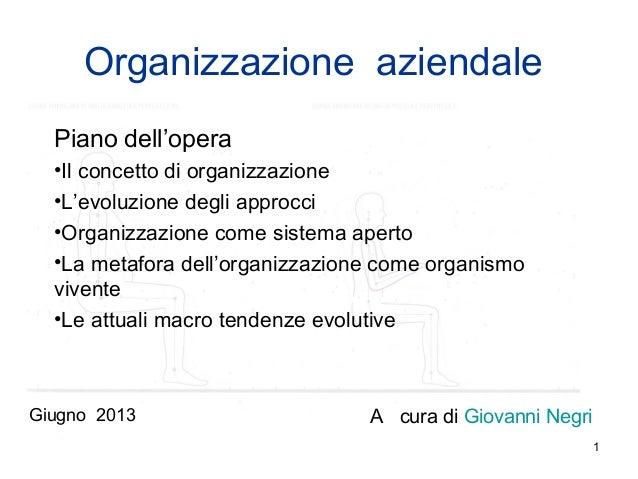 1Organizzazione aziendalePiano dell'opera•Il concetto di organizzazione•L'evoluzione degli approcci•Organizzazione come si...