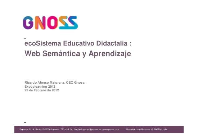 Ricardo Alonso Maturana Ricardo Alonso Maturana. CEO Gnoss. Expoelearning 2012 22 de Febrero de 2012 ecoSistema Educativo ...