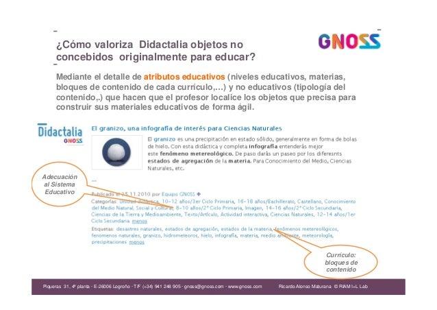 Ricardo Alonso Maturana ¿Cómo valoriza Didactalia objetos no concebidos originalmente para educar? Piqueras 31, 4ª planta ...