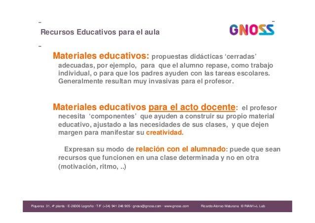Ricardo Alonso Maturana Recursos Educativos para el aula Materiales educativos: propuestas didácticas 'cerradas' adecuadas...