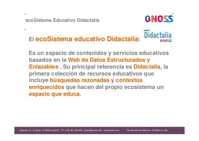 Ricardo Alonso Maturana ecoSistema Educativo Didactalia El ecoSistema educativo Didactalia: Es un espacio de contenidos y ...