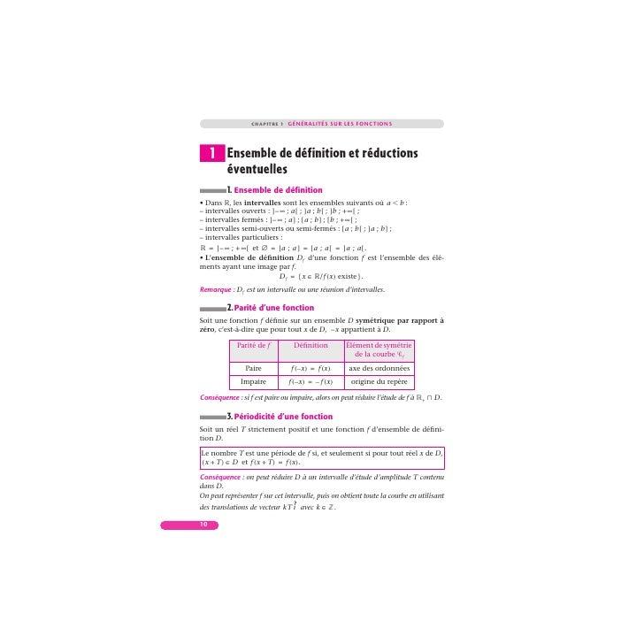 CHAPITRE 1 GÉNÉRALITÉS SUR LES FONCTIONS     1 Ensemble de définition et réductions       éventuelles         1. Ensemble ...