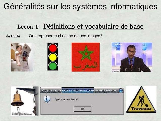 Activité Que représente chacune de ces images? Généralités sur les systèmes informatiques Leçon 1: Définitions et vocabula...