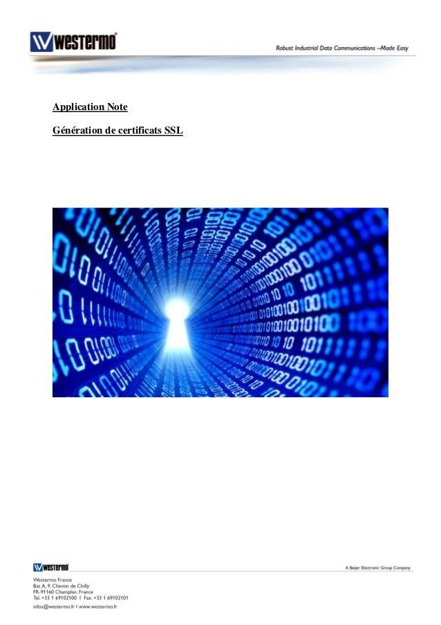 Application Note Génération de certificats SSL