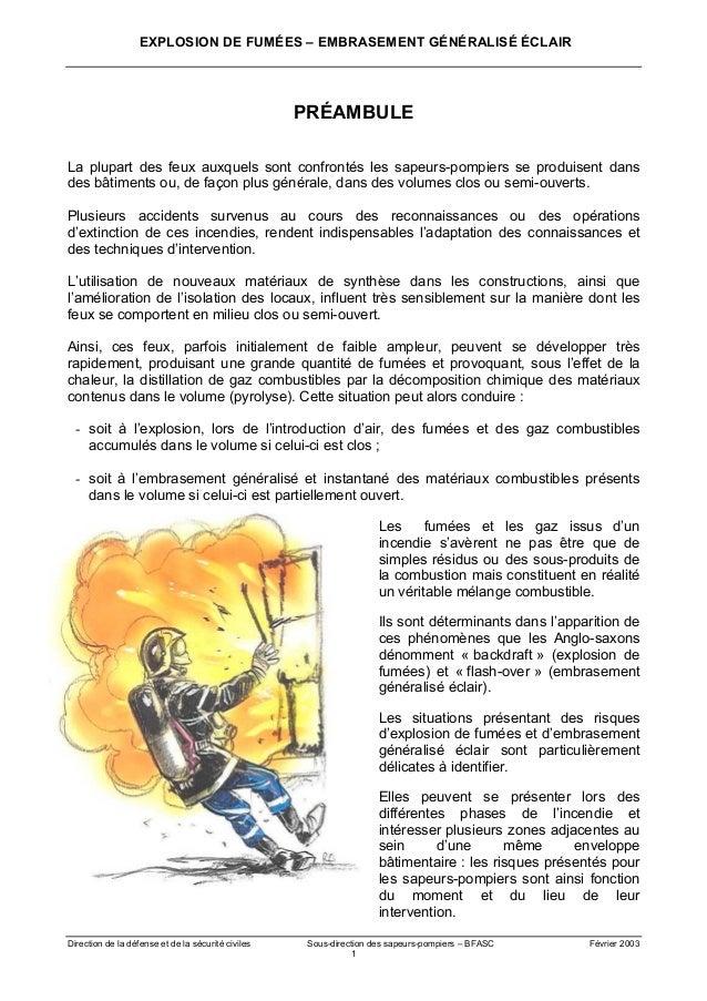 EXPLOSION DE FUMÉES – EMBRASEMENT GÉNÉRALISÉ ÉCLAIR Direction de la défense et de la sécurité civiles Sous-direction des s...