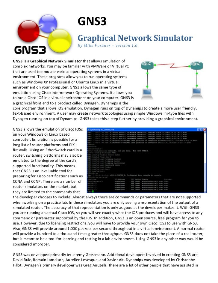 GNS3                                     Graphical Network Simulator                                     By Mike Fuszner –...