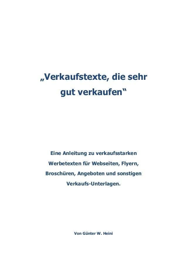 """""""Verkaufstexte, die sehr gut verkaufen""""  Eine Anleitung zu verkaufsstarken Werbetexten für Webseiten, Flyern, Brosch..."""