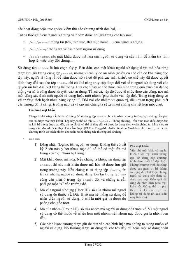 GNUFDL • PID_00148369 GNU/Linux cơ bản diện cá nhân. 6) Thư mục Home (gốc): thư mục Home của người sử dụng là nơi người sử...