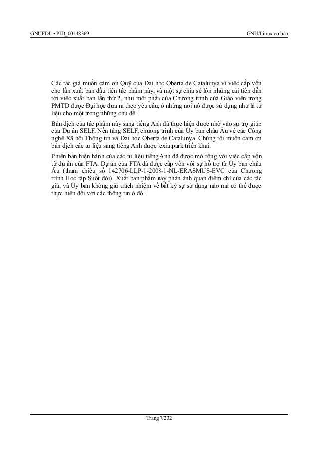 GNUFDL • PID_00148369 GNU/Linux cơ bản FTA muốn cảm ơn Quỹ của Đại học Oberta de Catalunya về việc cấp vốn cho lần xuất bả...