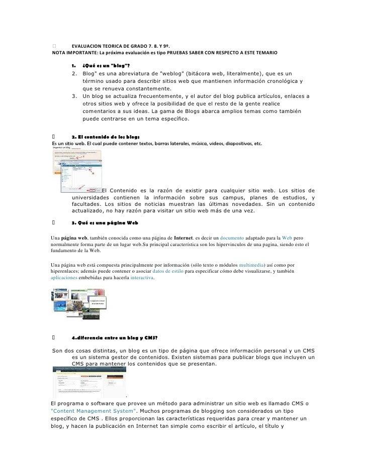 EVALUACION TEORICA DE GRADO 7. 8. Y 9º. <br />NOTA IMPORTANTE: La próxima evaluación es tipo PRUEBAS SABER CON RESPECTO A...