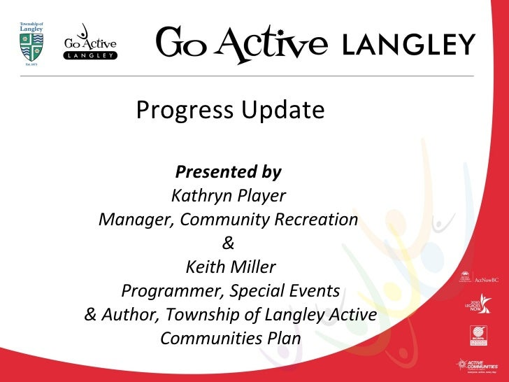 Progress Update Presented by  Kathryn Player  Manager, Community Recreation  &  Keith Miller  Programmer, Special Events  ...