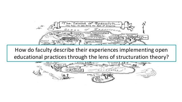 How do faculty describe their experiences implementing open educational practices through the lens of structuration theory?