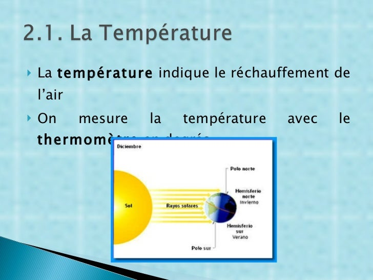 <ul><li>La  température  indique le réchauffement de l'air </li></ul><ul><li>On mesure la température avec le  thermomètre...