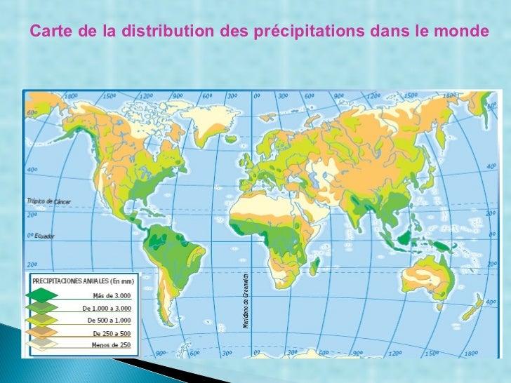Carte de la distribution des précipitations dans le monde