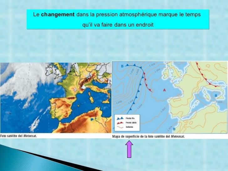 Le  changement  dans la pression atmosphérique marque le temps  qu'il va faire dans un endroit