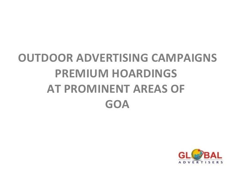 Best Hoardings Display at Goa, Global advertisers