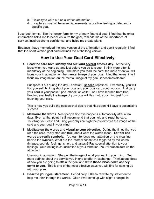 how to create an effective goal card
