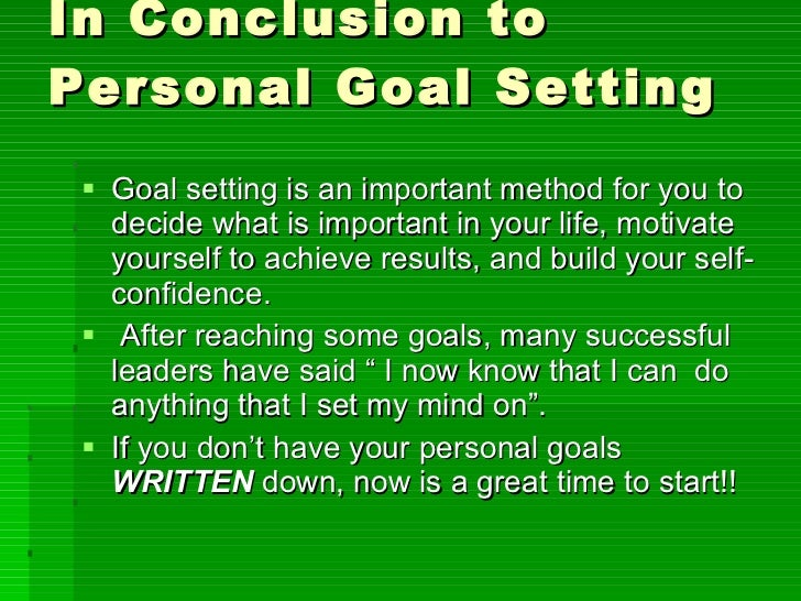 how to set personal life goals