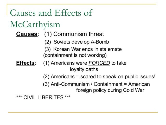 causes of mccarthyism
