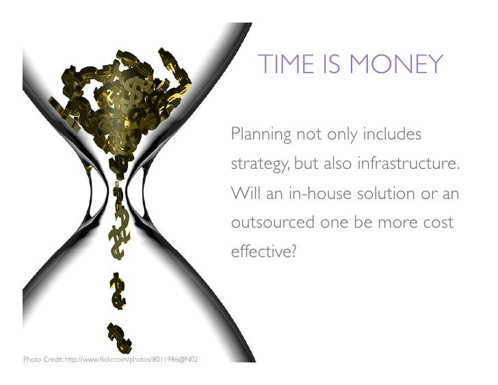 TIME IS MONEY                                                           Planning not only includes                        ...