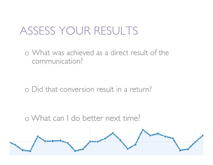 ASSESS YOUR RESULTS o What was achieved as a direct result of the   communication?   o Did that conversion result in a r...
