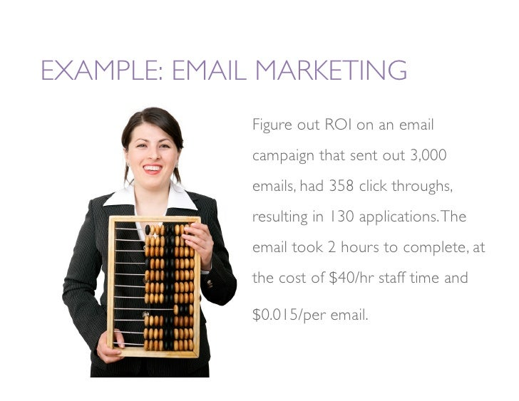 EXAMPLE: EMAIL MARKETING               Figure out ROI on an email               campaign that sent out 3,000              ...