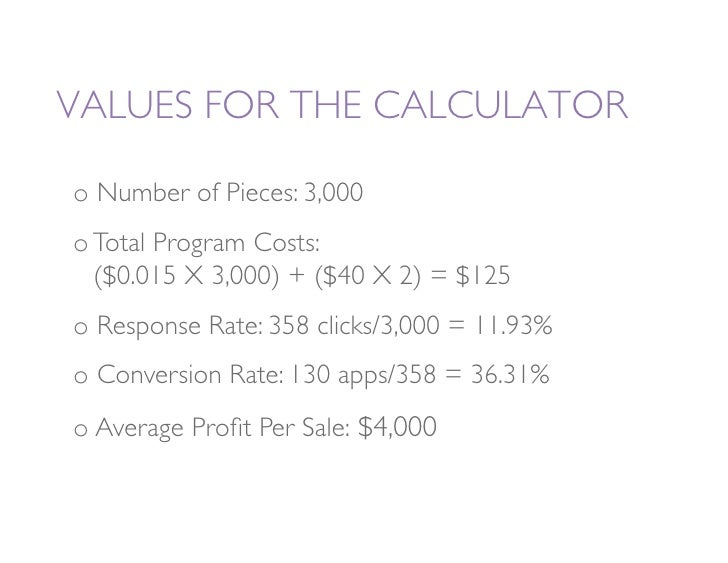 VALUES FOR THE CALCULATOR   o Number of Pieces: 3,000 oTotal Program Costs:                            ($0.015 X 3,000) ...