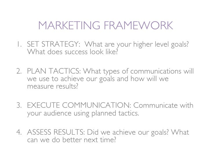 MARKETING FRAMEWORK 1. SET STRATEGY: What are your higher level goals?     What does success look like?  2. PLAN TACTICS...