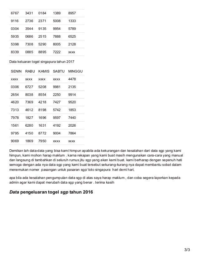 Data Sgp Tahun 2016 Sabtu 27 Mei 2017