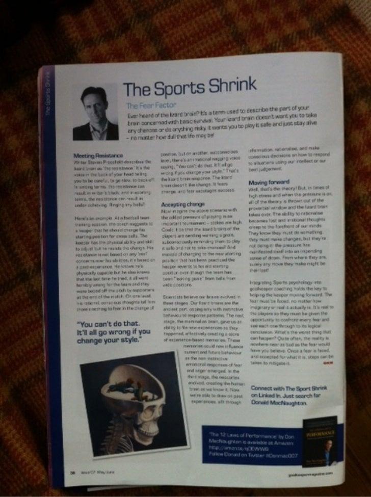 The Sports Shrink Goalkeeper Mag Column