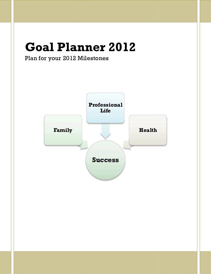 Goal Planner 2012Plan for your 2012 Milestones                      Professional                          Life         Fam...