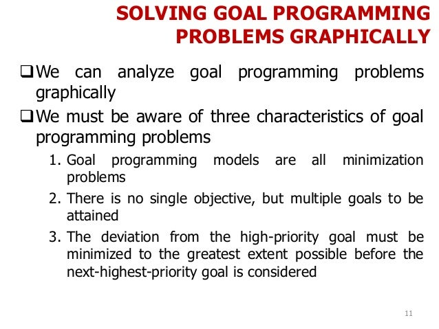 SOLVING GOAL PROGRAMMING PROBLEMS GRAPHICALLY 11 We can analyze goal programming problems graphically We must be aware o...