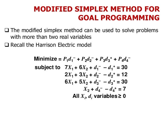 MODIFIED SIMPLEX METHOD FOR GOAL PROGRAMMING  The modified simplex method can be used to solve problems with more than tw...