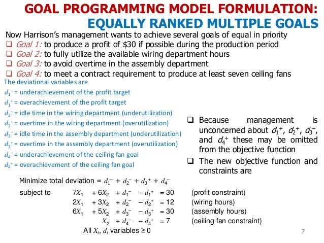 GOAL PROGRAMMING MODEL FORMULATION: EQUALLY RANKED MULTIPLE GOALS 7 Now Harrison's management wants to achieve several goa...