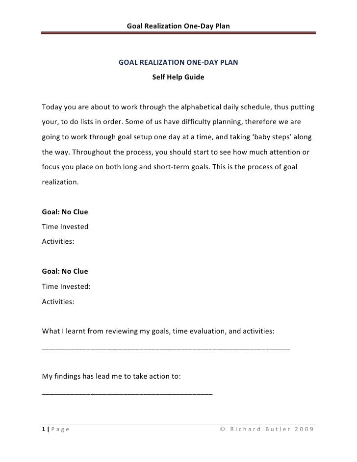 GOAL REALIZATION ONE-DAY PLAN<br />Self Help Guide<br />Today you are about to work through the alphabetical daily schedul...