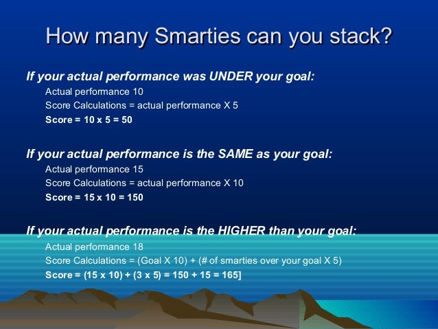 How many Smarties can you stack? If your actual performance was UNDER your goal: Actual performance 10 Score Calculations ...