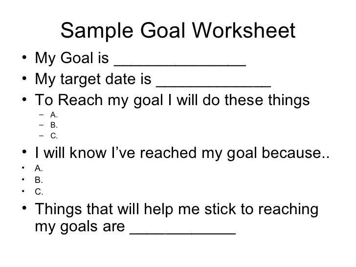 Goals and Objectives – Goals and Objectives Worksheet