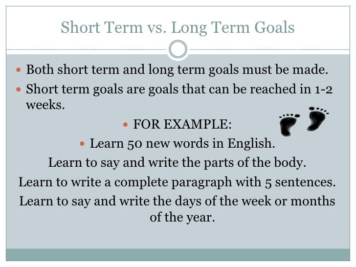 long term goal essay Professional and personal short term and long term goal print reference this published: 23rd march, 2015 disclaimer: this essay.