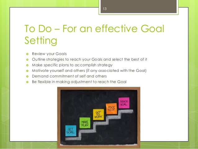 To Do – For an effective Goal Setting  Review your Goals  Outline strategies to reach your Goals and select the best of ...