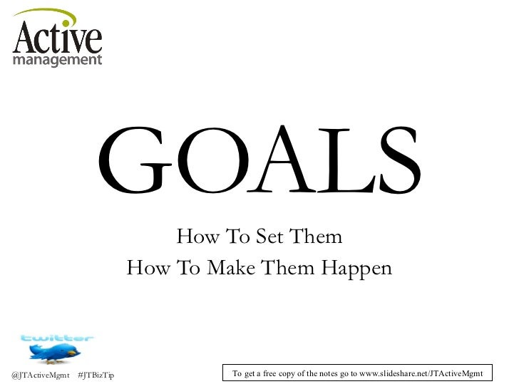 GOALS How To Set Them How To Make Them Happen