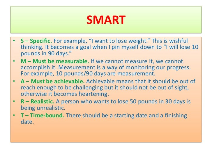 Smart methodology goal setting