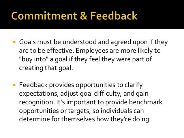 """   Goals must be understood and agreed upon if they    are to be effective. Employees are more likely to    """"buy into"""" a ..."""
