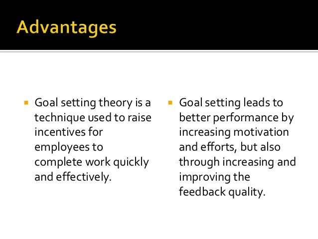    Goal setting theory is a      Goal setting leads to    technique used to raise        better performance by    incent...