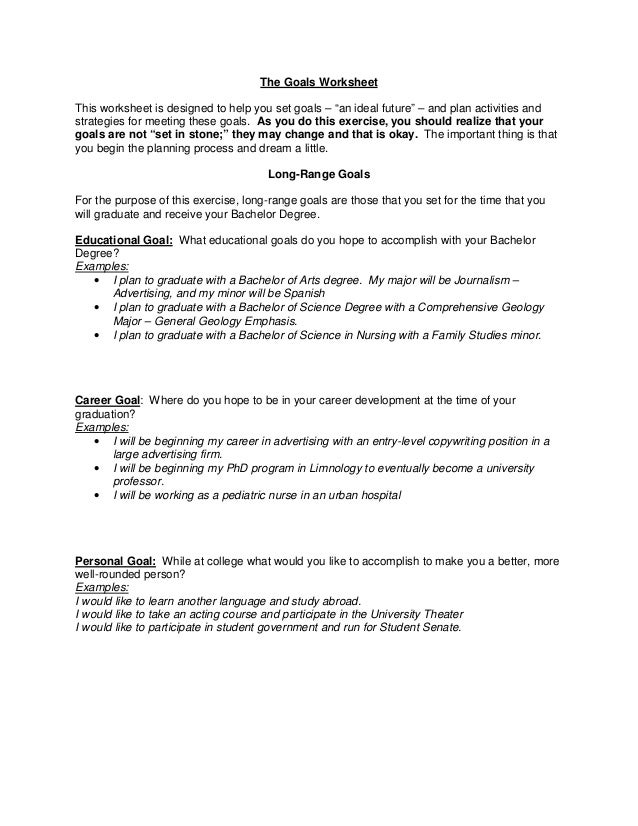 """The Goals WorksheetThis worksheet is designed to help you set goals – """"an ideal future"""" – and plan activities andstrategie..."""