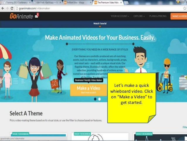 "Let's make a quick whieboard video. Click on ""Make a Video"" to get started."