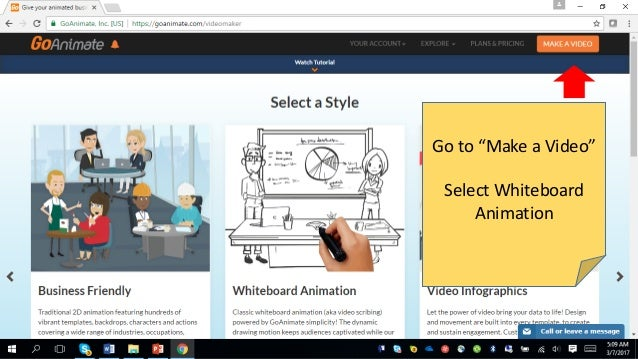 "Go to ""Make a Video"" Select Whiteboard Animation"
