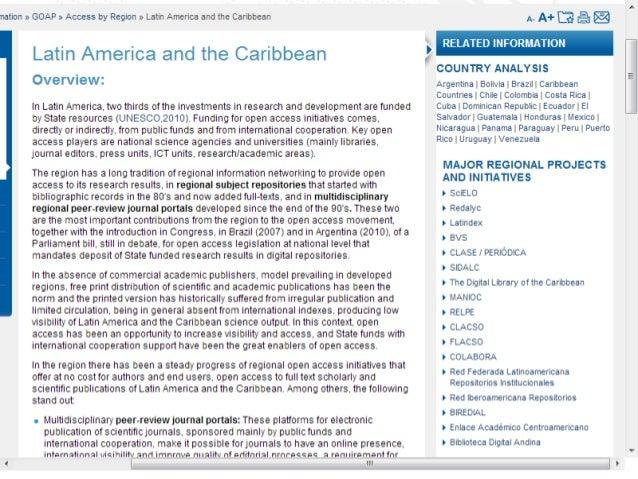 Contenidos iniciales de GOAP para ALC CLACSO seleccionado por UNESCO en 2011 para preparar contenidos iniciales de América...